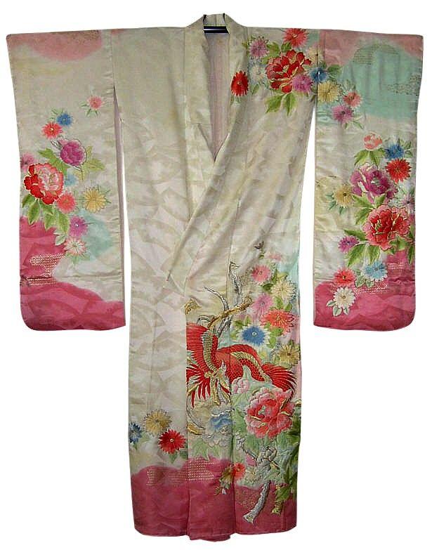 Japanese Silk Embroidered Wedding Kimono 1950u0026#39;s | Kimonos | Pinterest | Kimonos Wedding Kimono ...