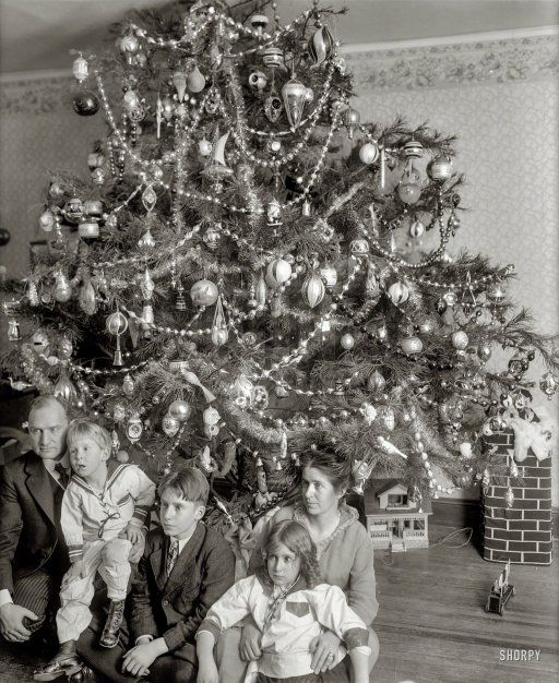 Love the tree.  If you enlarge the picture you can see the ornaments.  So beautiful.  I have some left that  I think came from my dads parents.  Photo from Shorpy.  Family Tree: 1915