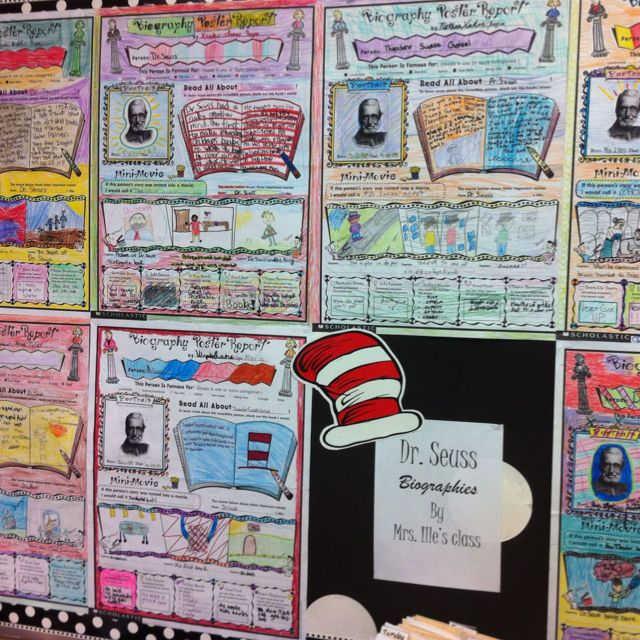Our Dr Seuss Biography Posters!!! Kindergarten 4th grade ela