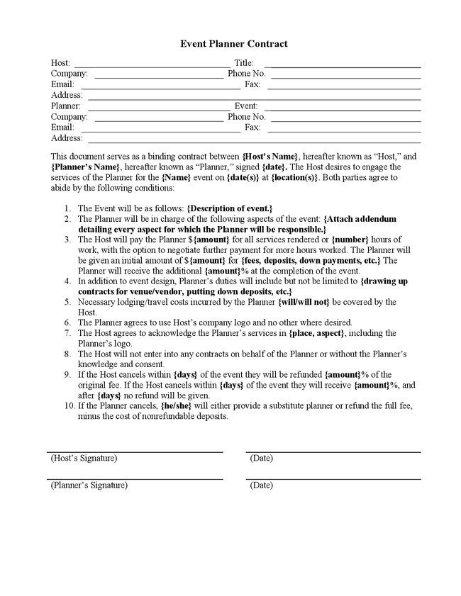 Party Planner Contract Template  Google Search  Business Savvy
