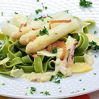 Asperges met pasta en ham, Italiaans,hoofdgerecht,4 personen,koken,Slank,[Gezond eten in het voorjaar]