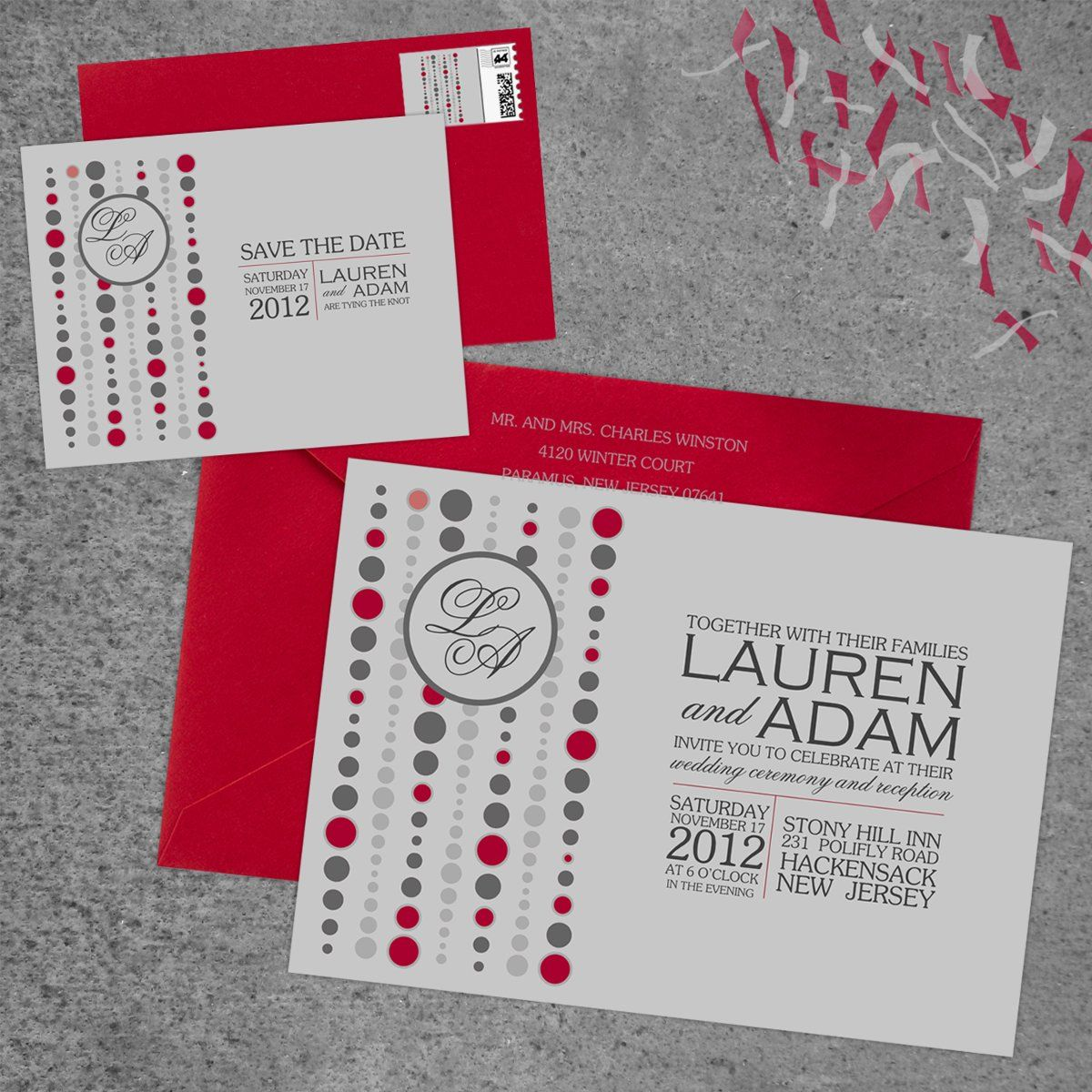 Modern Red Silver Invitations Save-the-Dates Spring Storkie Express ...