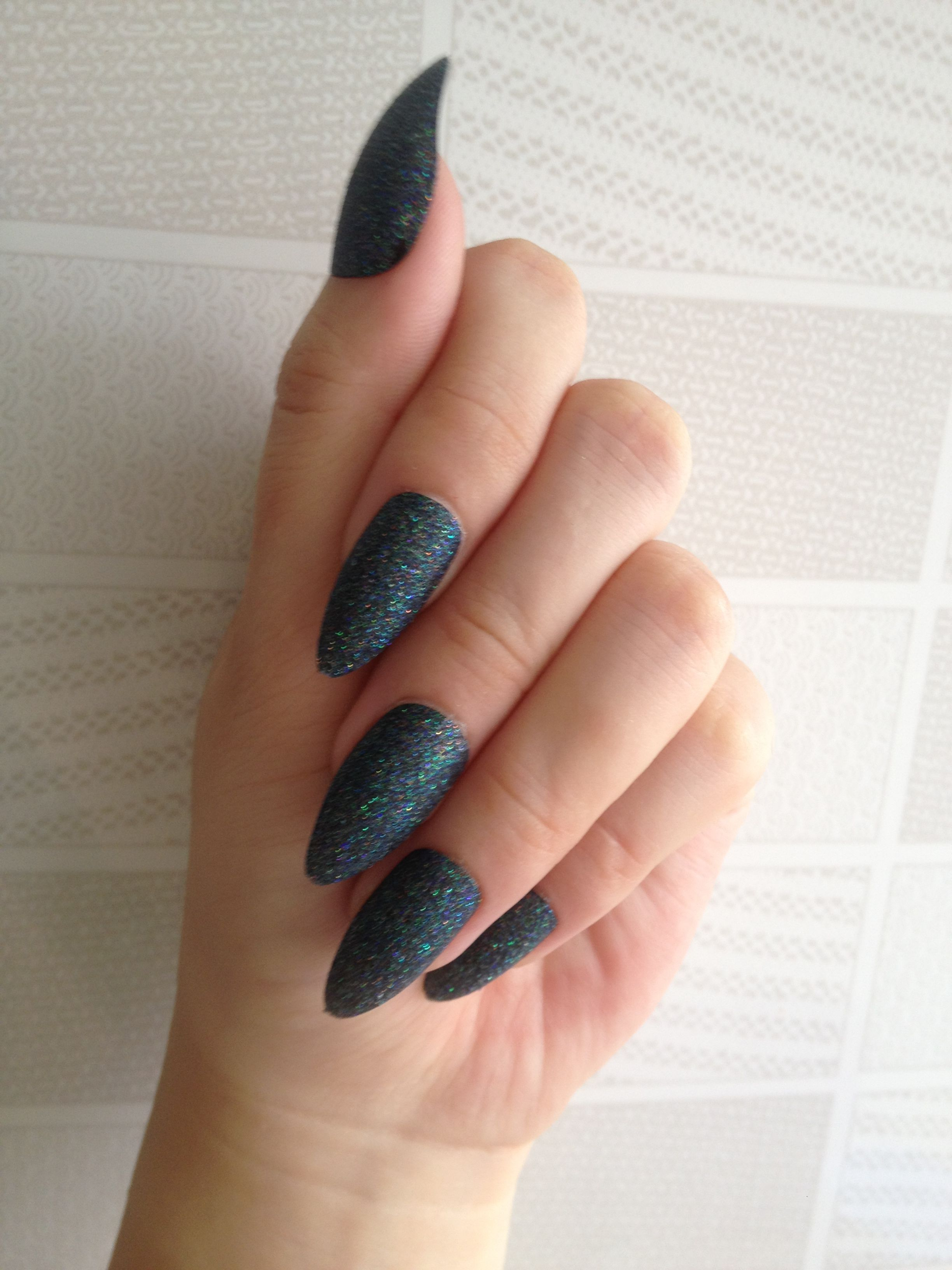 Black Glitter Effect Pin Nails Talon Acrylic Nail Tips