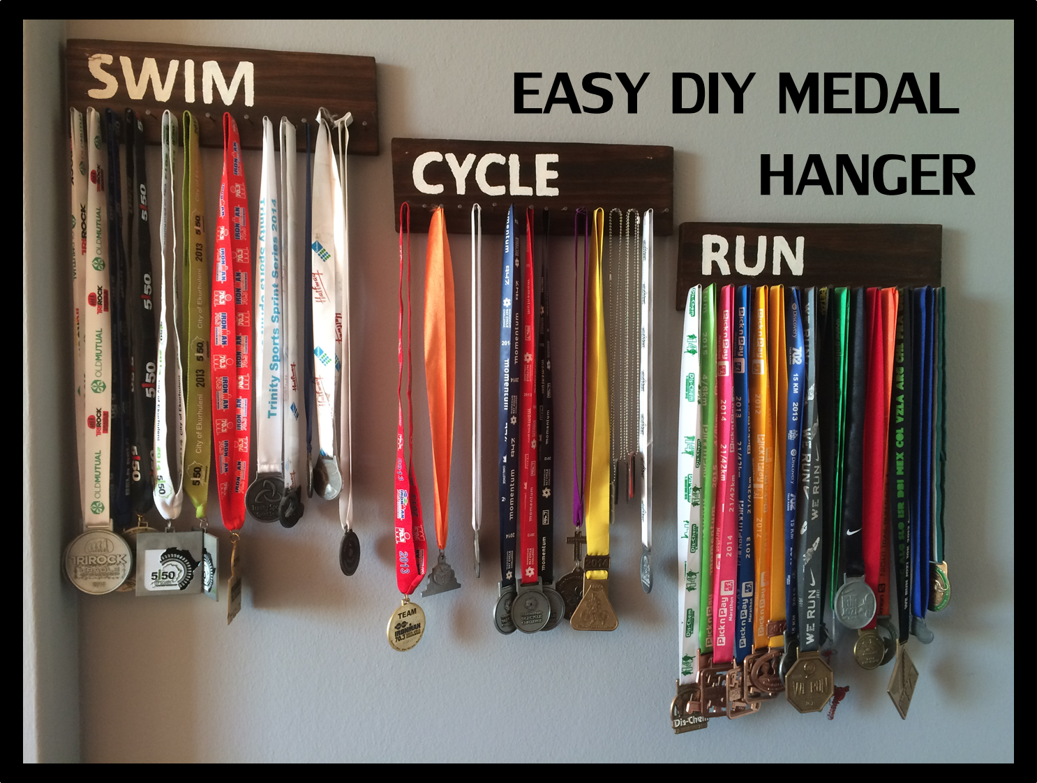 Simple Medal Holder Display Your Race Medals Medal Display Diy Running Medal Display Sports Medal Display