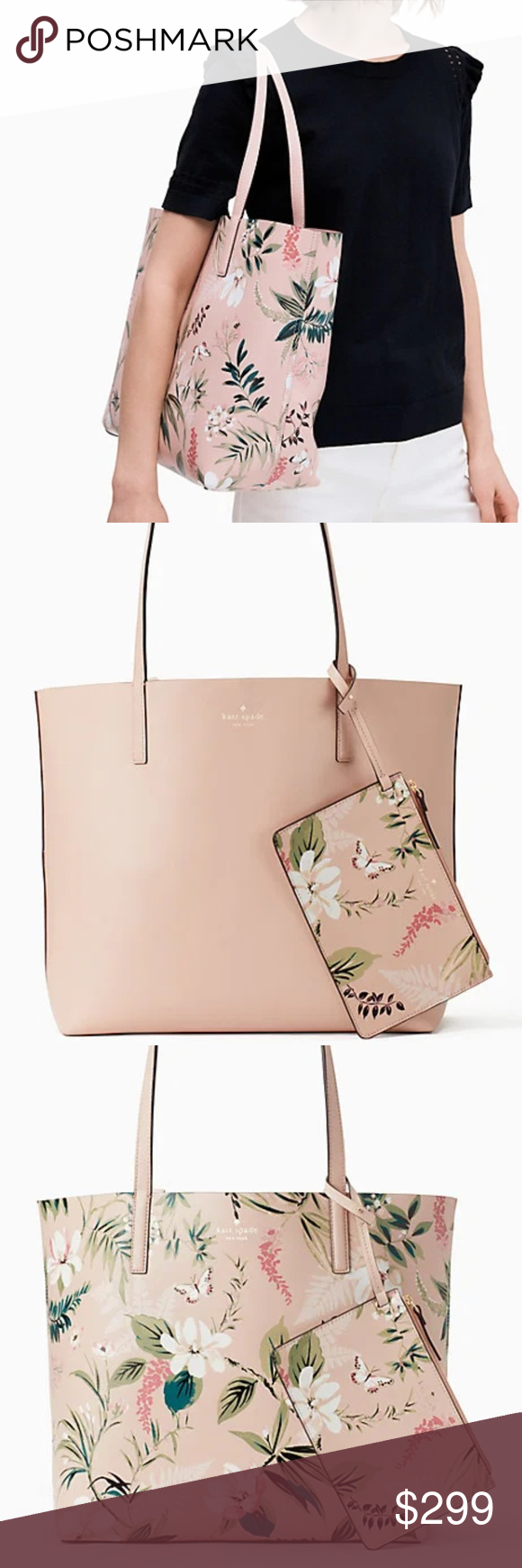 f4a6f603bb508 JUST IN! kate spade arch place mya botanical kate spade new york arch place  mya botanical reversible tote in pink multi 2.4