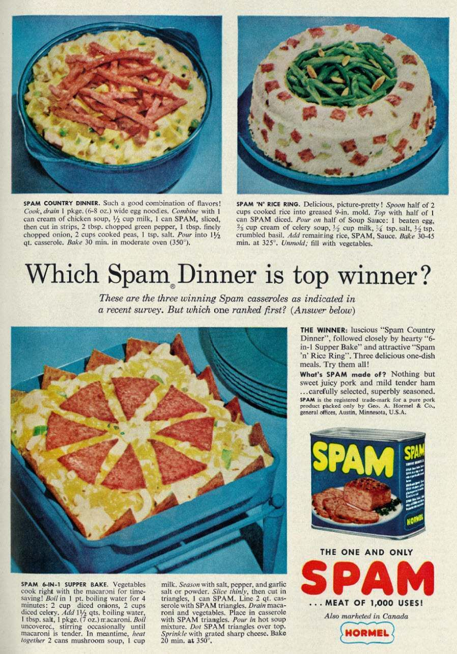 Spam Ad 1958 Which Dinner Is Top Winner