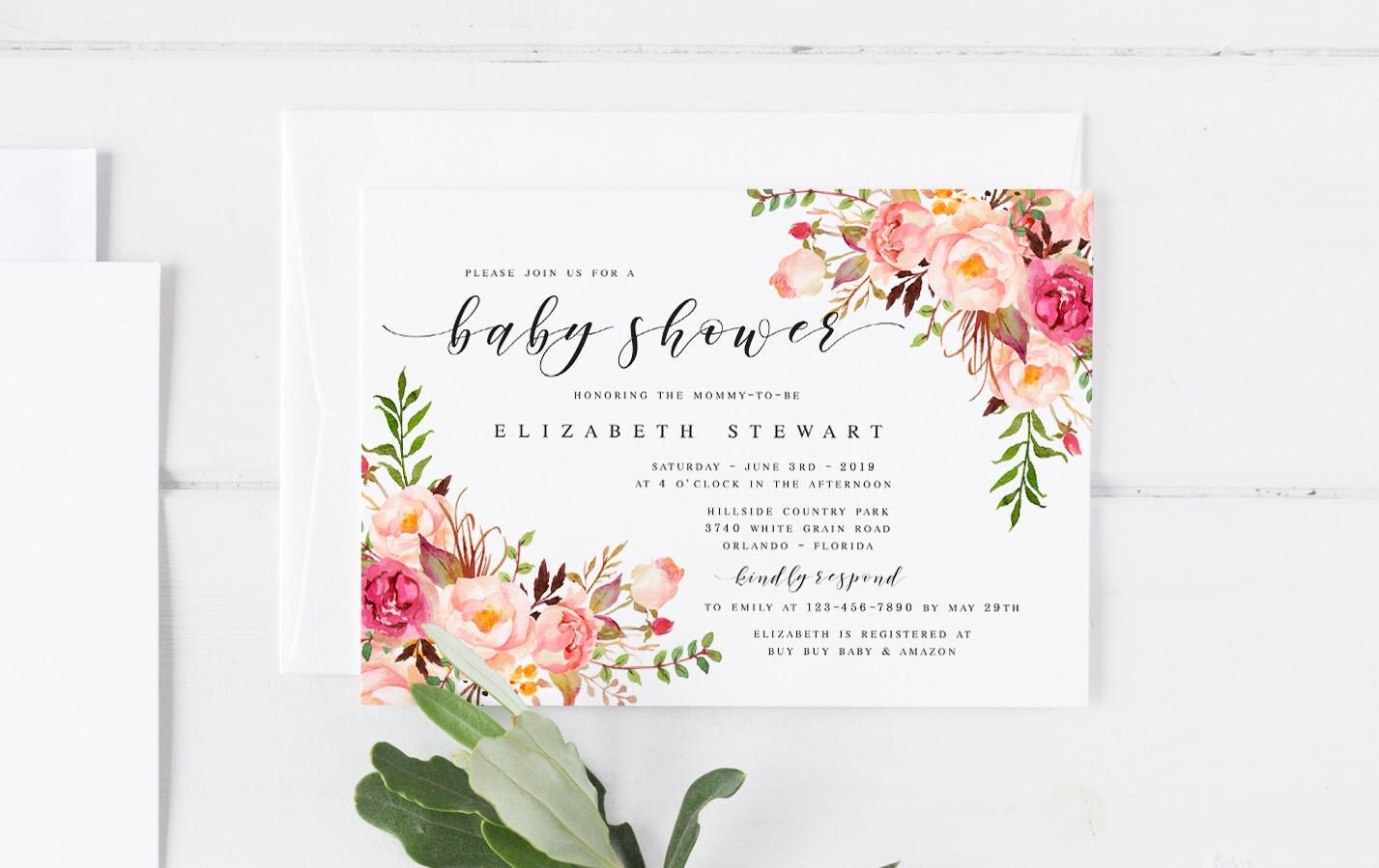 Pink Bohemian Floral Spring Baby Shower Invitation Template DIY Baby ...