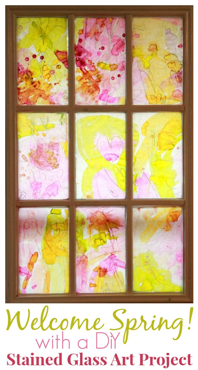 A beautiful DiY stained glass art project for kids -- What a wonderful way to welcome spring to your home!