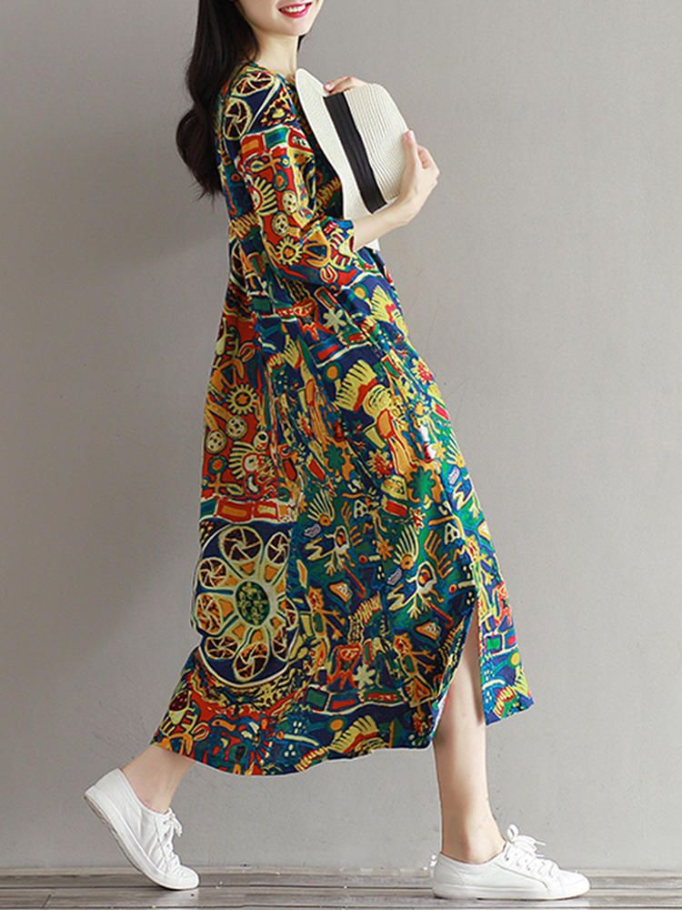 71b0eb557c5521 Casual Women Floral Printed Loose 3 4 Sleeves O-Neck Dress