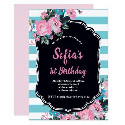 Vintage floral birthday party invitation party invitations stopboris Choice Image