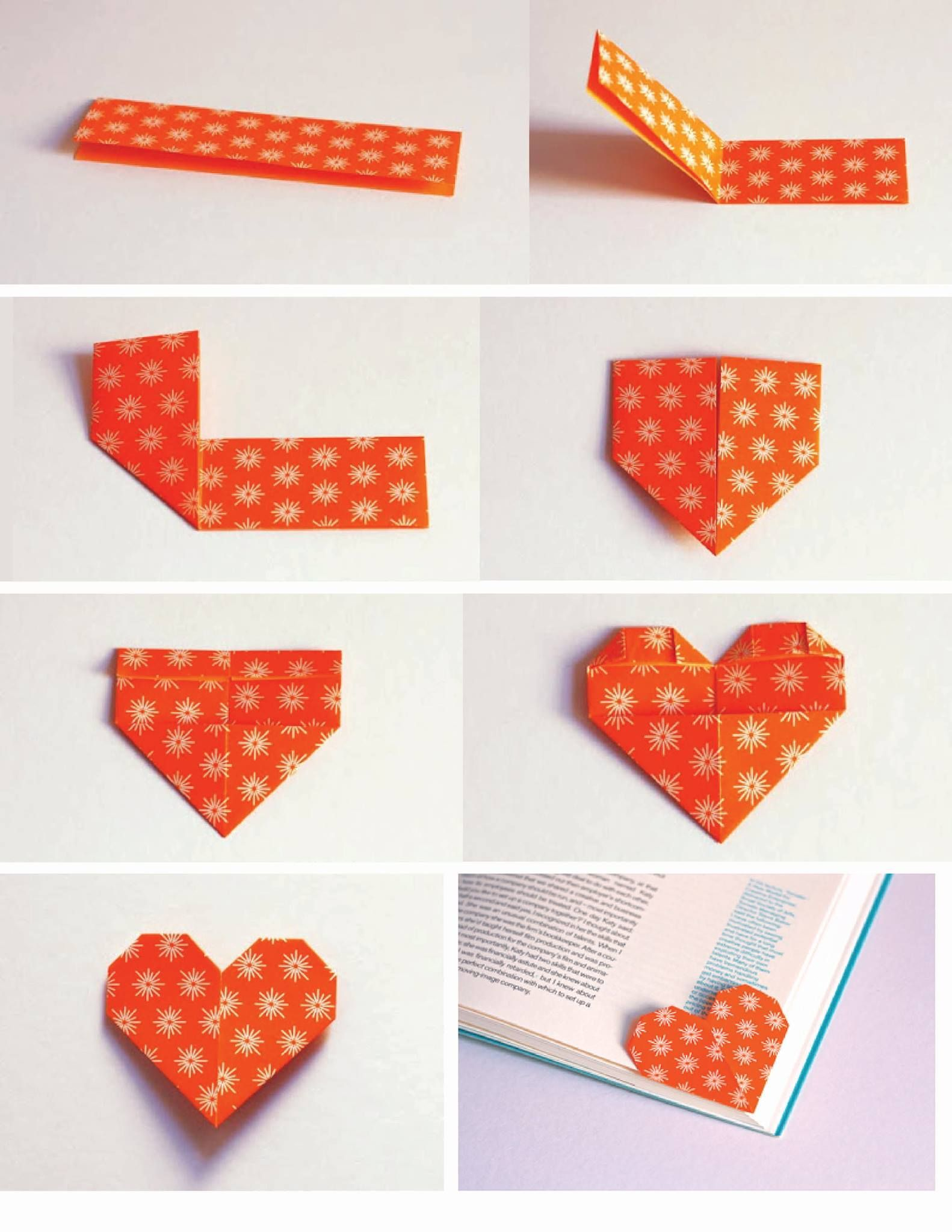 make a cute heart shaped origami bookmark to keep track of the last