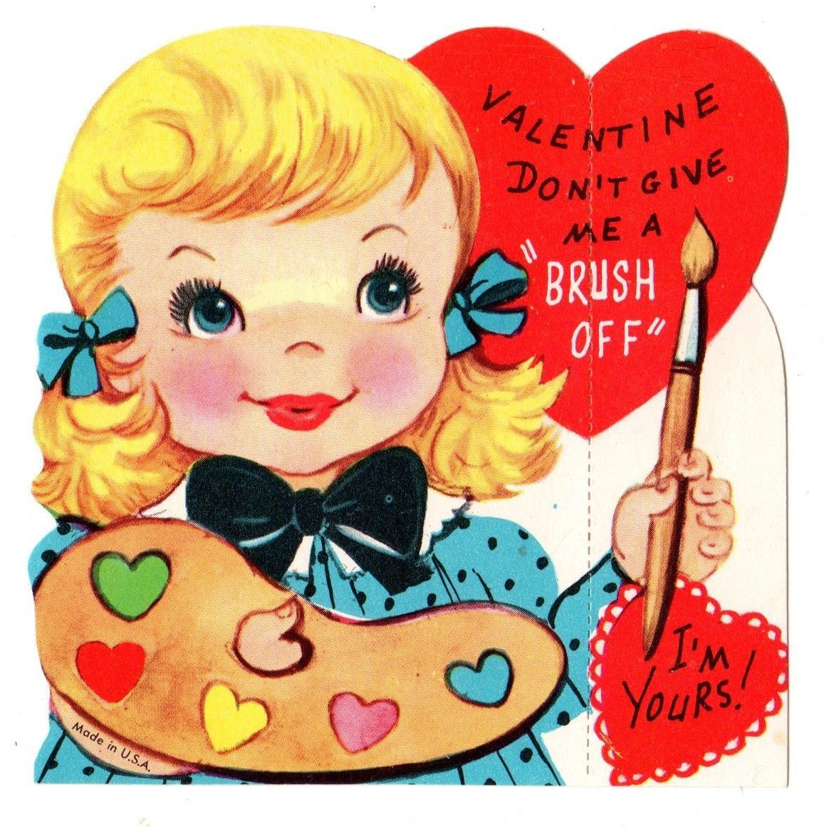 """girl artist says """"don't give me the brush off"""" / vintage"""