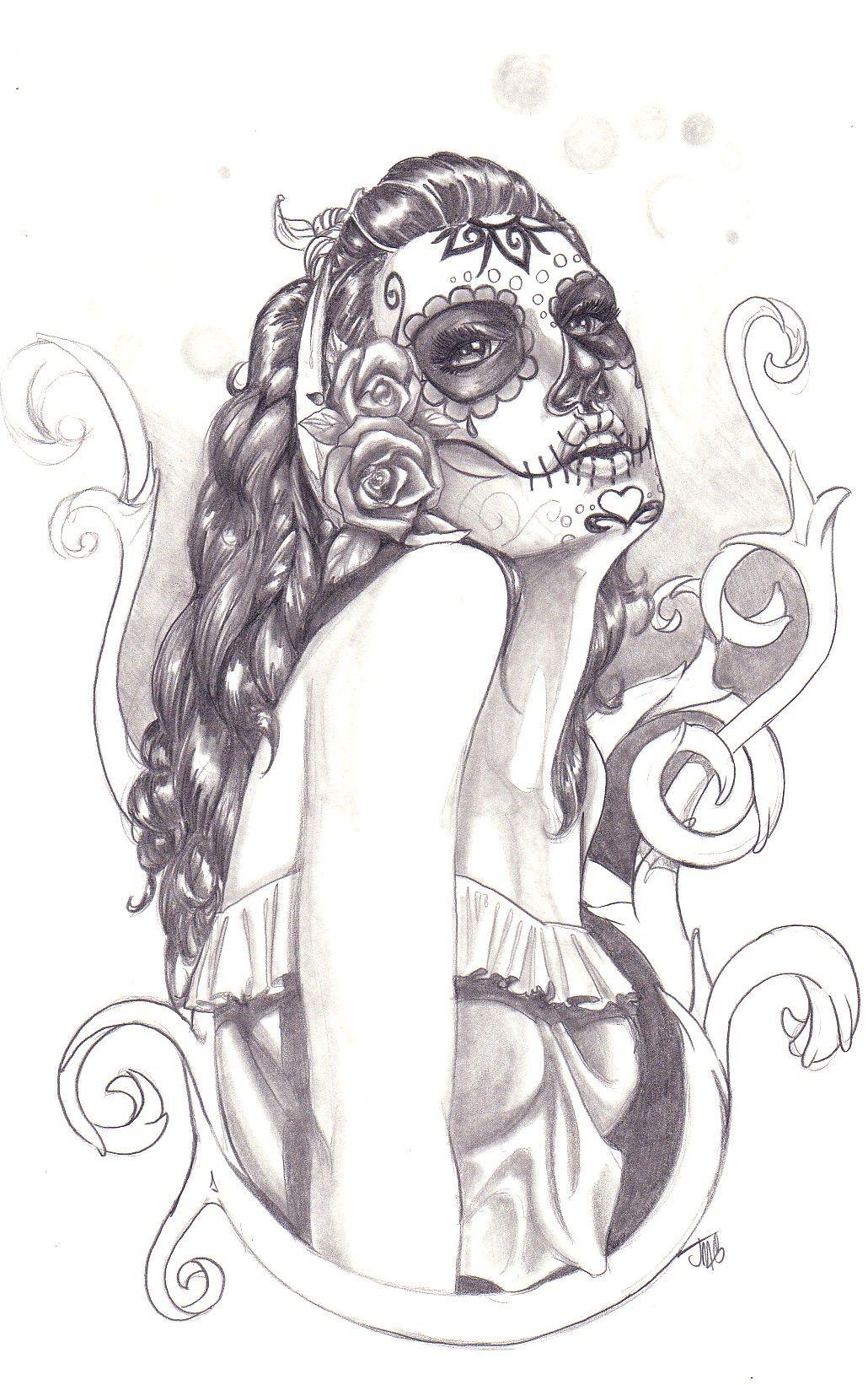 Sugar Skull Sketch Jpg 1 030 1 642 Pixels Tatoo Desenhos Para