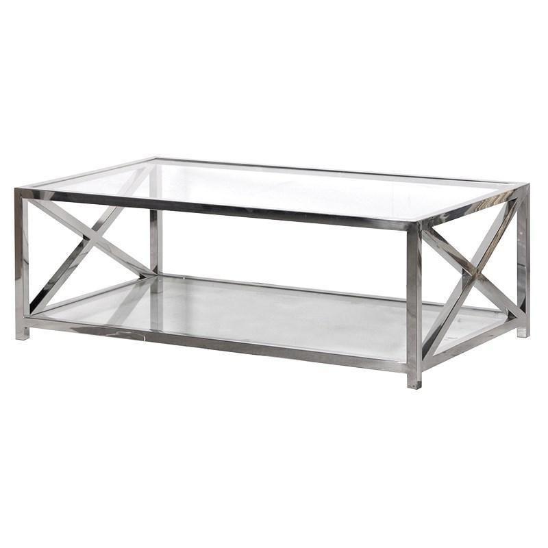 Glass Top Rectangular Coffee Table In Chrome Finish Homelia Com Homelia Coffee Table Contemporary Coffee Table Coffee Table Rectangle