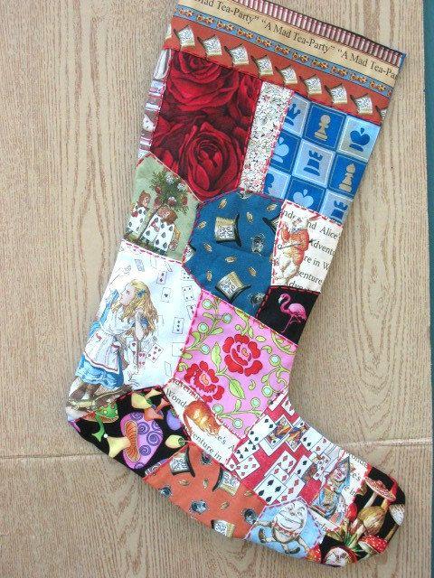 Alice in Wonderland Christmas Stocking by nameoftherose on Etsy