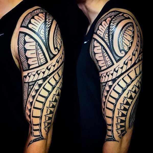 mens half sleeve polynesian tribal arm tattoos creative tattoo sleeves pinterest tribal. Black Bedroom Furniture Sets. Home Design Ideas