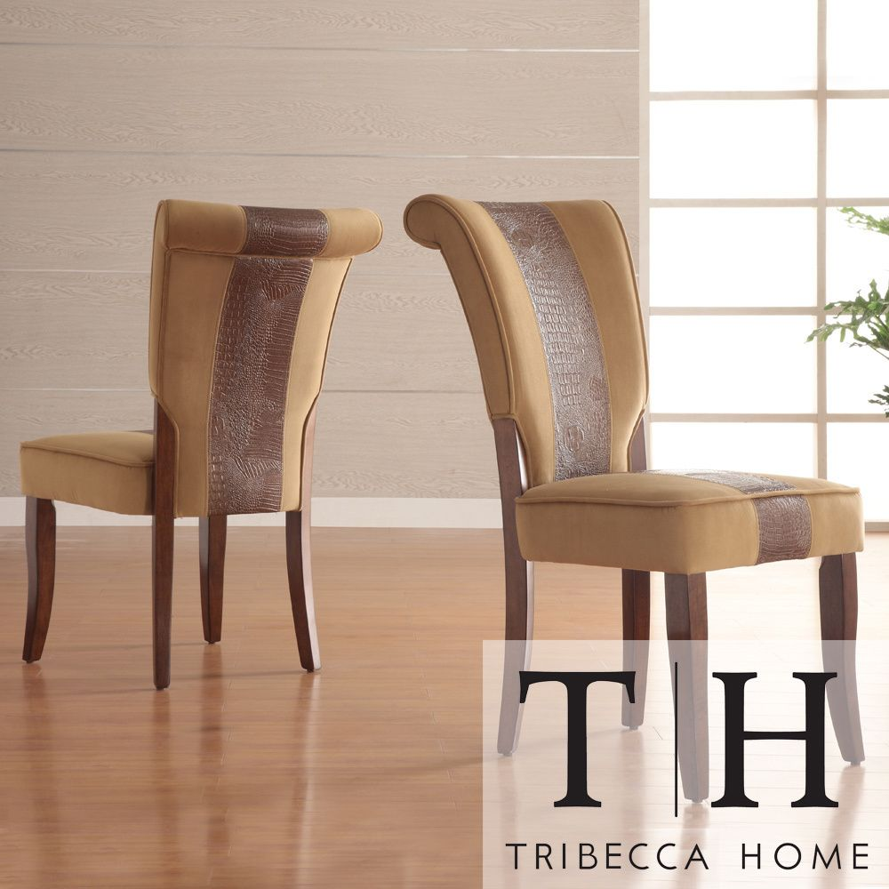 Andorra Velvet And Faux Alligator Leather Dining Chair