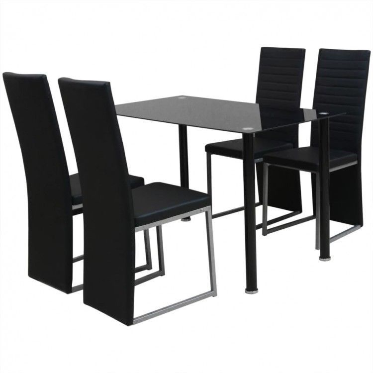 Dining Table Chairs Set Of 5 Black Tempered Glass Stand Kitchen
