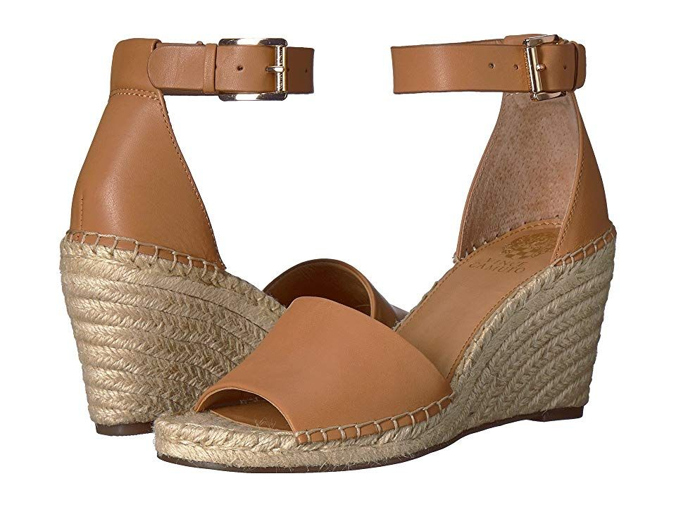 Vince Camuto Leera Tan Womens Shoes Enter the season in sleek chicness when you step out in the Vince Camuto Leera wedge sandal Reptileembossed leather upper features flo...