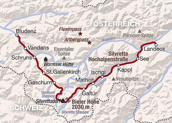 Silvretta Hochalpenstrasse Vorarlberg Tirol Austria