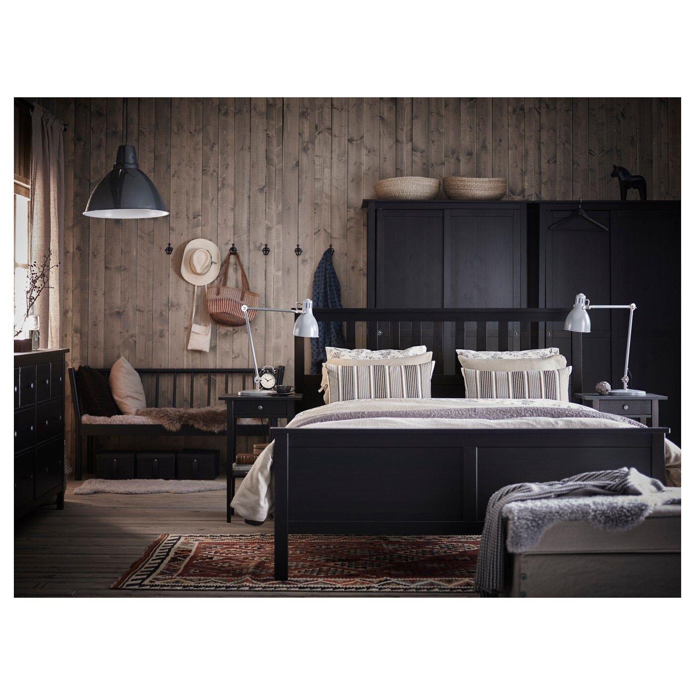 Hemnes Bed Frame Black Brown Luroy Queen Ikea Hemnes Bett Schwarze Schlafzimmermobel Bettgestell