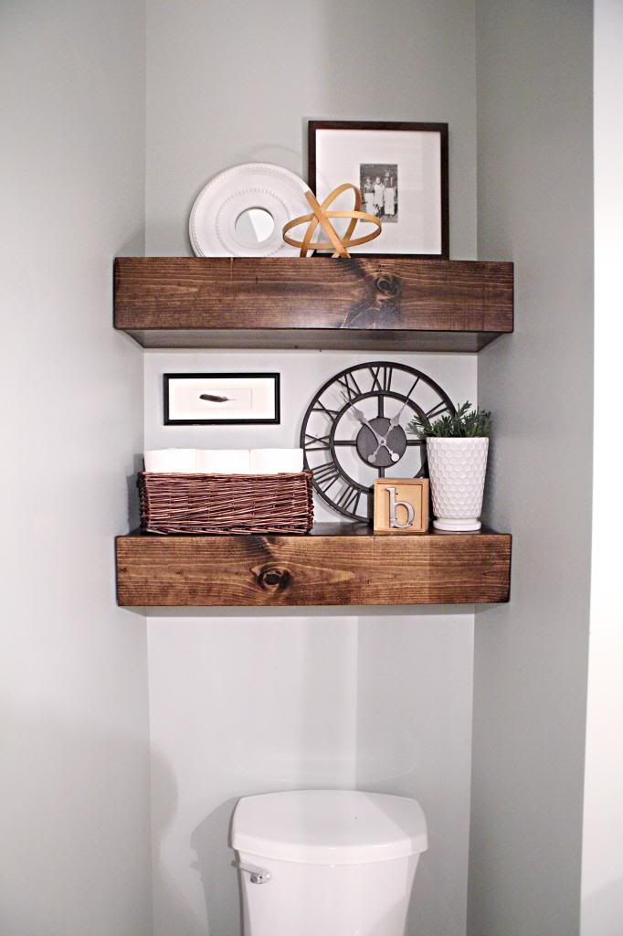 Over The Toilet Storage And Design Options For Small Bathrooms Wood Closet Shelves Rustic Powder Room Shelves