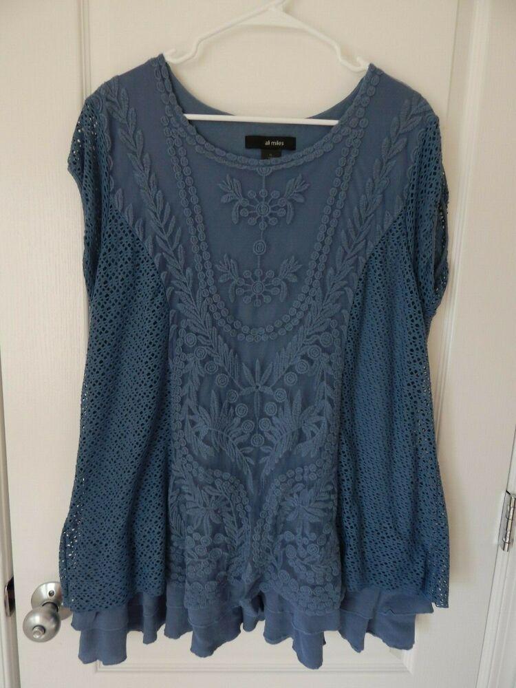 9ba729946d1a4 ALI MILES Slate Blue Lace Short Sleeve Top Ruffled Trim Open Weave SIZE XL  14 16