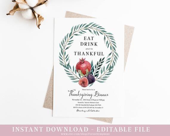 Thanksgiving Invitation Dinner Instant Editable Template