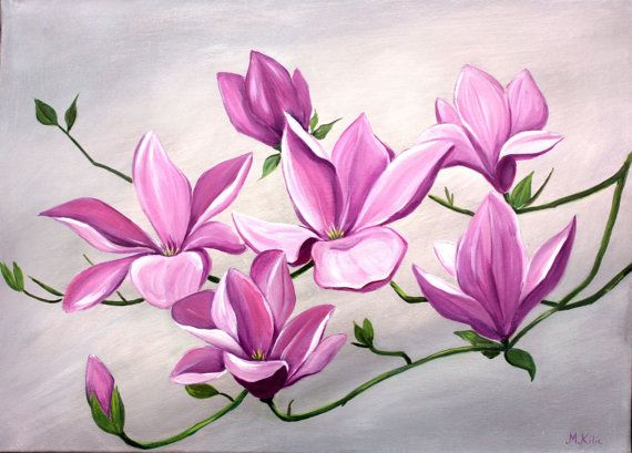 Large Flower Painting Acrylic Silver Grey Pink By Melsfineart 180 00 Acrylic Painting Flowers Flower Art Painting Flower Painting