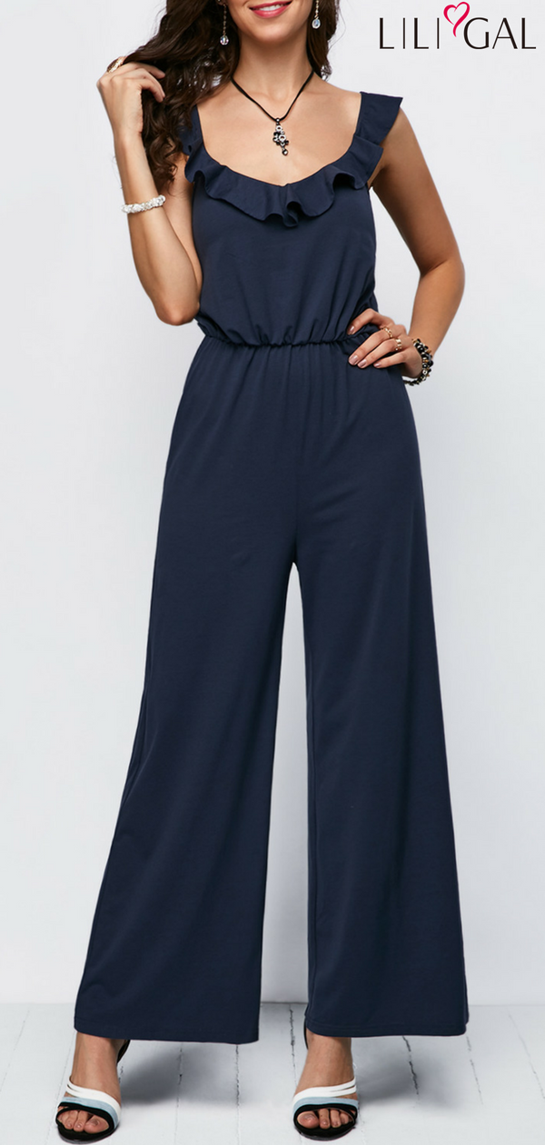 Open Back Ruffle Trim Navy Blue Jumpsuit Liligal Jumpsuits