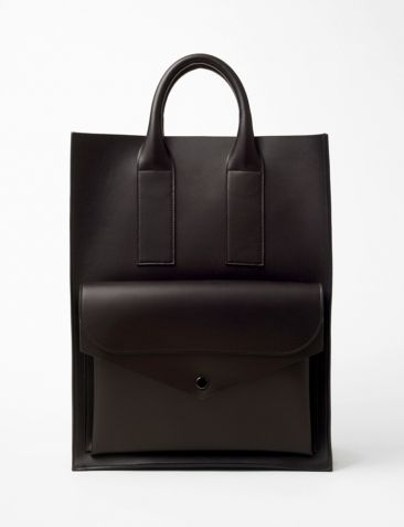 boxy leather tote
