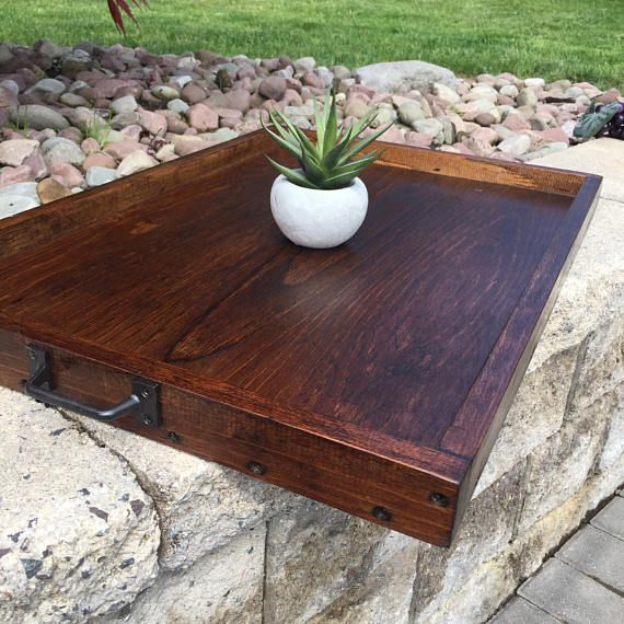 Wooden Tray | Serving Tray | Ottoman Tray | Rustic Tray | Coffee ...