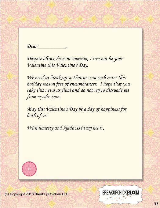 Pre-Valentine'S Day Breakup Form Letter D | Breakup Letters