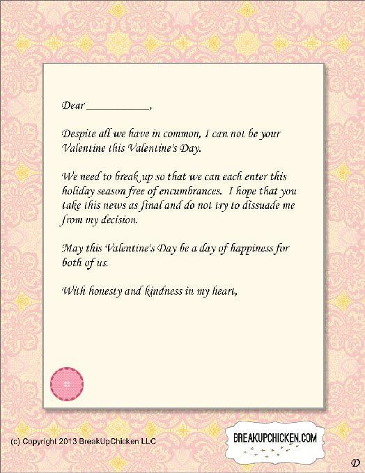 Pre-Valentineu0027s Day Breakup Form Letter D Breakup Letters - fresh relieving letter format pdf file