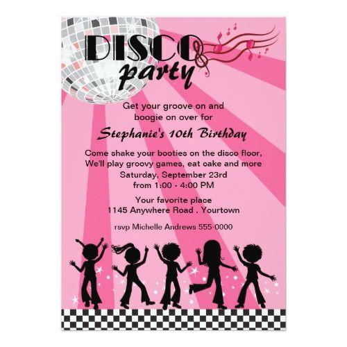 Tween girls disco birthday card birthday invitations pinterest tween girls disco birthday card filmwisefo