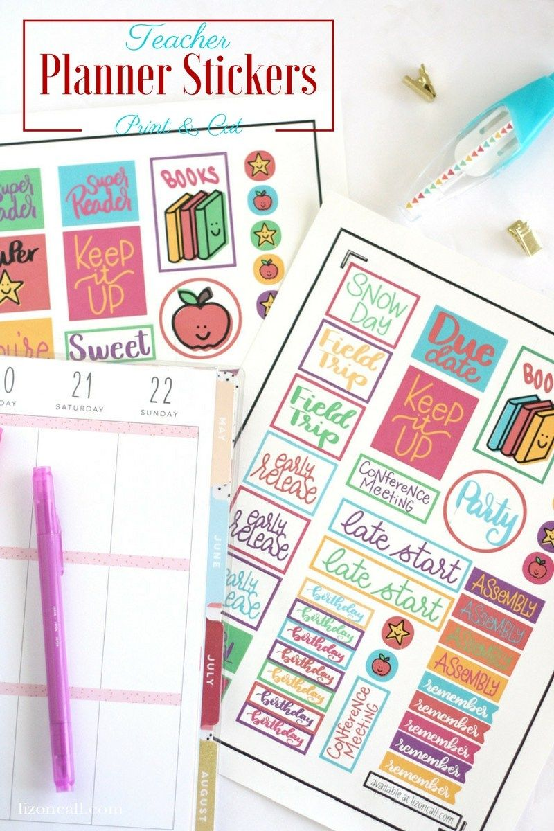 Free Teacher Planner Stickers Print and Cut   Planner Printables ...