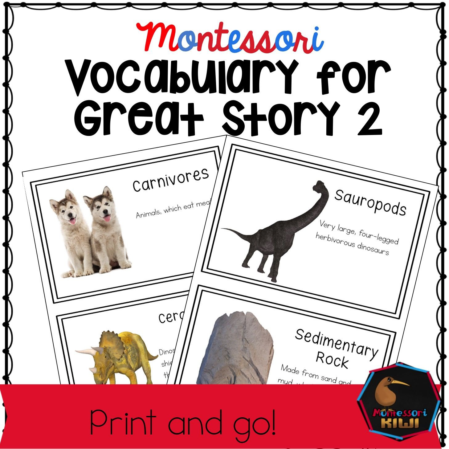 Prehistory Words For Montessori Second Great Story
