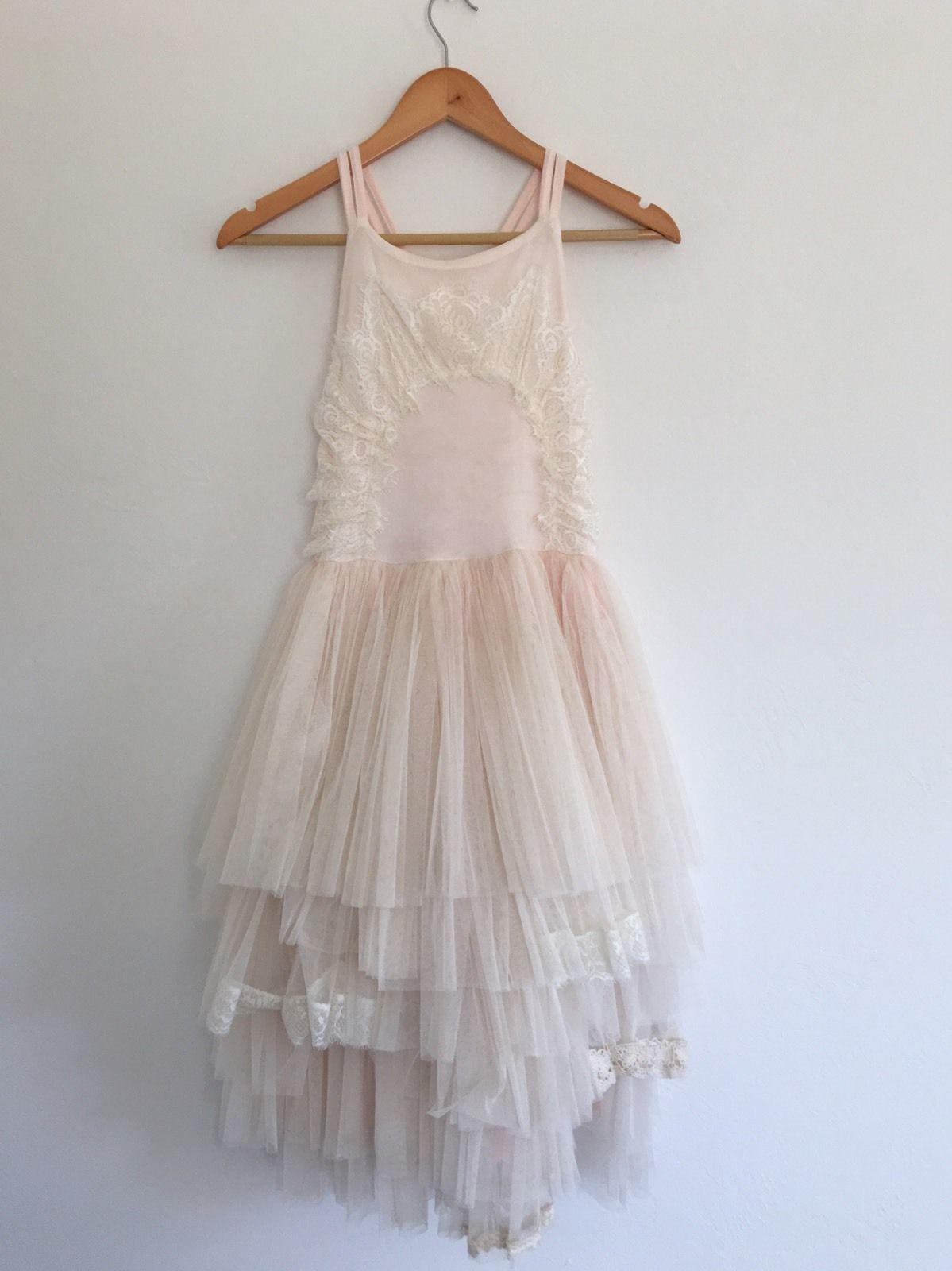 Dollcake Girls Flower Girl Dress Size 14 Blush Pink Lace Dress Up Crochet