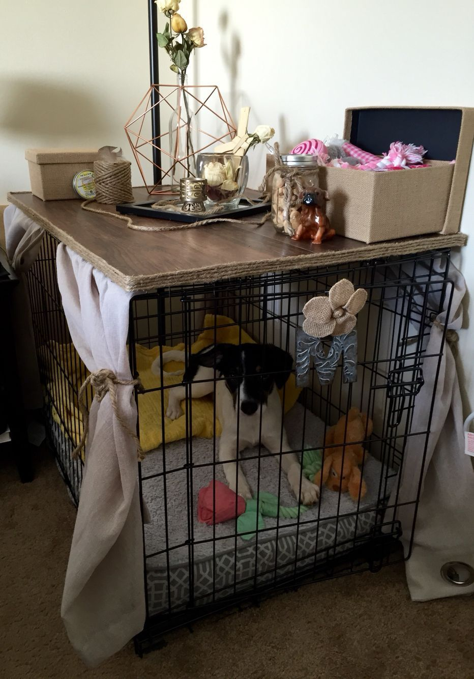 DIY Dog Crate Cover that's a table. No Sew, super easy