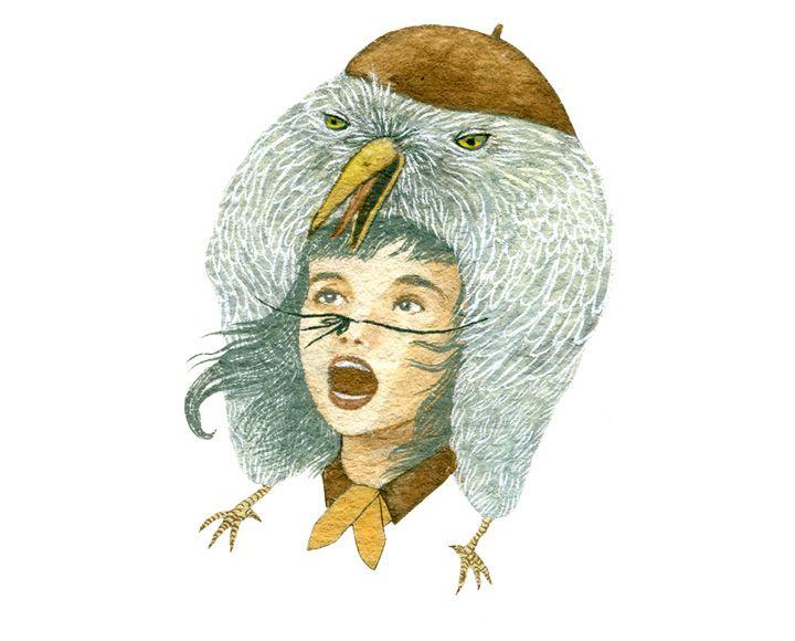 Girl wearing bird as hat | Illustration | SELENA WONG