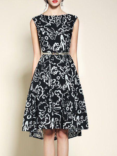 Shop Midi Dresses - Black Floral Sleeveless Floral-print Midi Dress online. Discover unique designers fashion at StyleWe.com.
