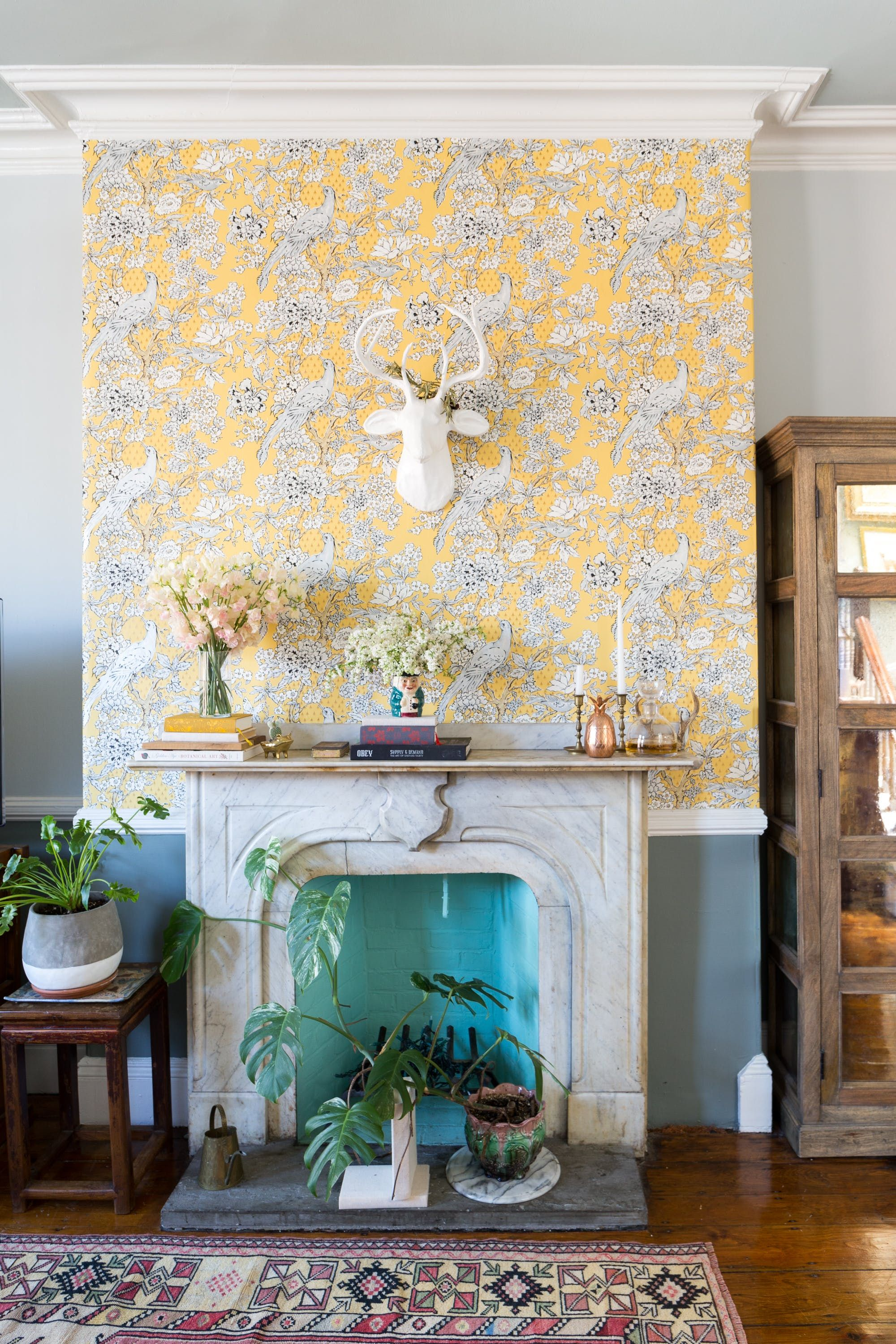A Photographer S Found Foraged South End Row House Living Room Decor Tips Wallpaper Fireplace Feature Wall Design