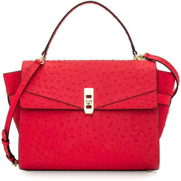 Henri Bendel Uptown Ostrich Satchel ($275) ❤ liked on Polyvore featuring bags, handbags, dk pink, ostrich purse, satchel handbags, ostrich embossed handbags, ostrich print handbags and pink purse