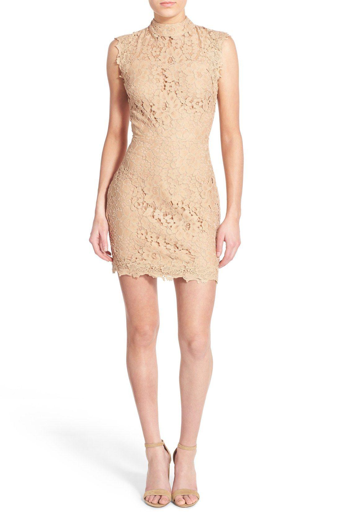 Hommage Body-Con Lace Sheath Dress