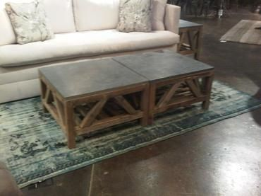 Superior Discontinued Item Limited Stock Available 9 In Southampton Square Bluestone  Top Coffee Table On Reclaimed Cross