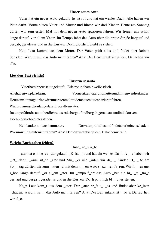 Text Diktat Neues Auto Kaufen Lesetraining Sekundarstufe