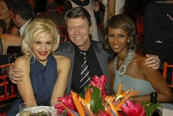 Gwen Stefani, David Bowie and his wife Iman.
