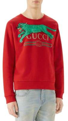 71955b2bf Gucci Logo Sweatshirt with Tiger | Products | Sweatshirts, Gucci men ...