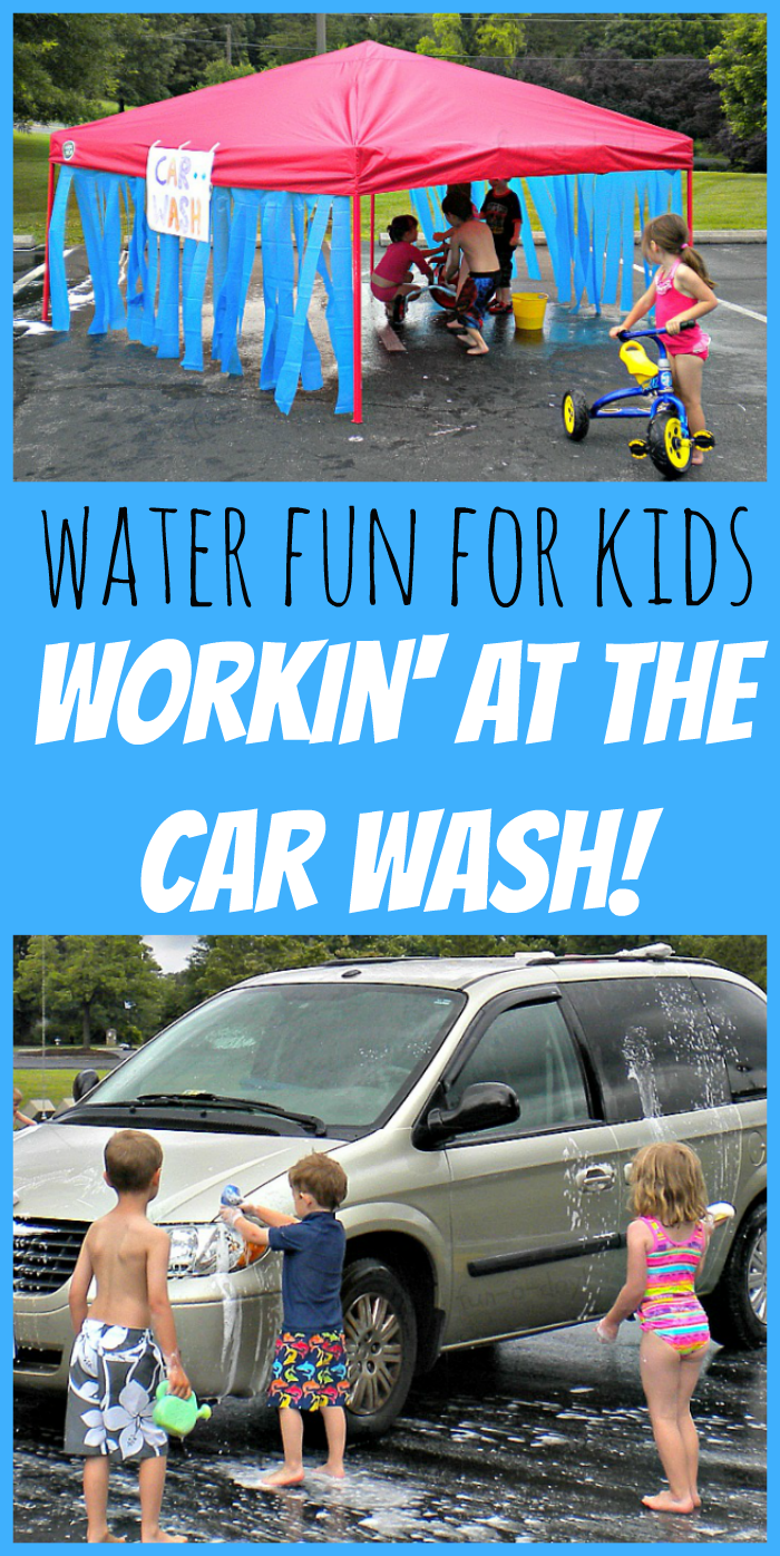 Water Fun for Kids: Workin' at the Car Wash!  An easy way to keep the kids cool, active, and engaged during the hot summer days!  If it gets your car (partially) cleaned during the process, even better!  :)  fun-a-day.com