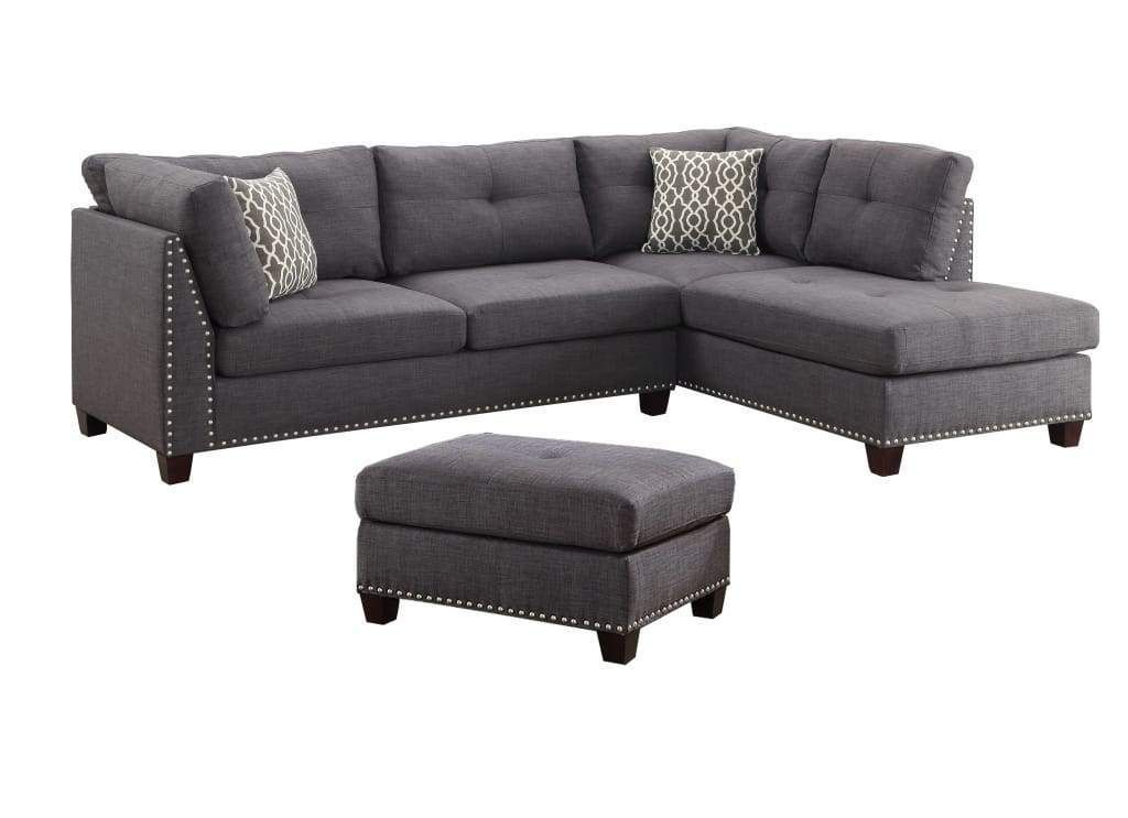Linen Upholstery Sectional Sofa With Ottoman And Two Pillows, Light Charcoal - 5...  Linen Upholstery Sectional Sofa With Ottoman And Two Pillows, Light Charcoal – 54385 By Casagear  #Charcoal #light #Linen #Ottoman #pillows #Sectional #Sofa #upholstery